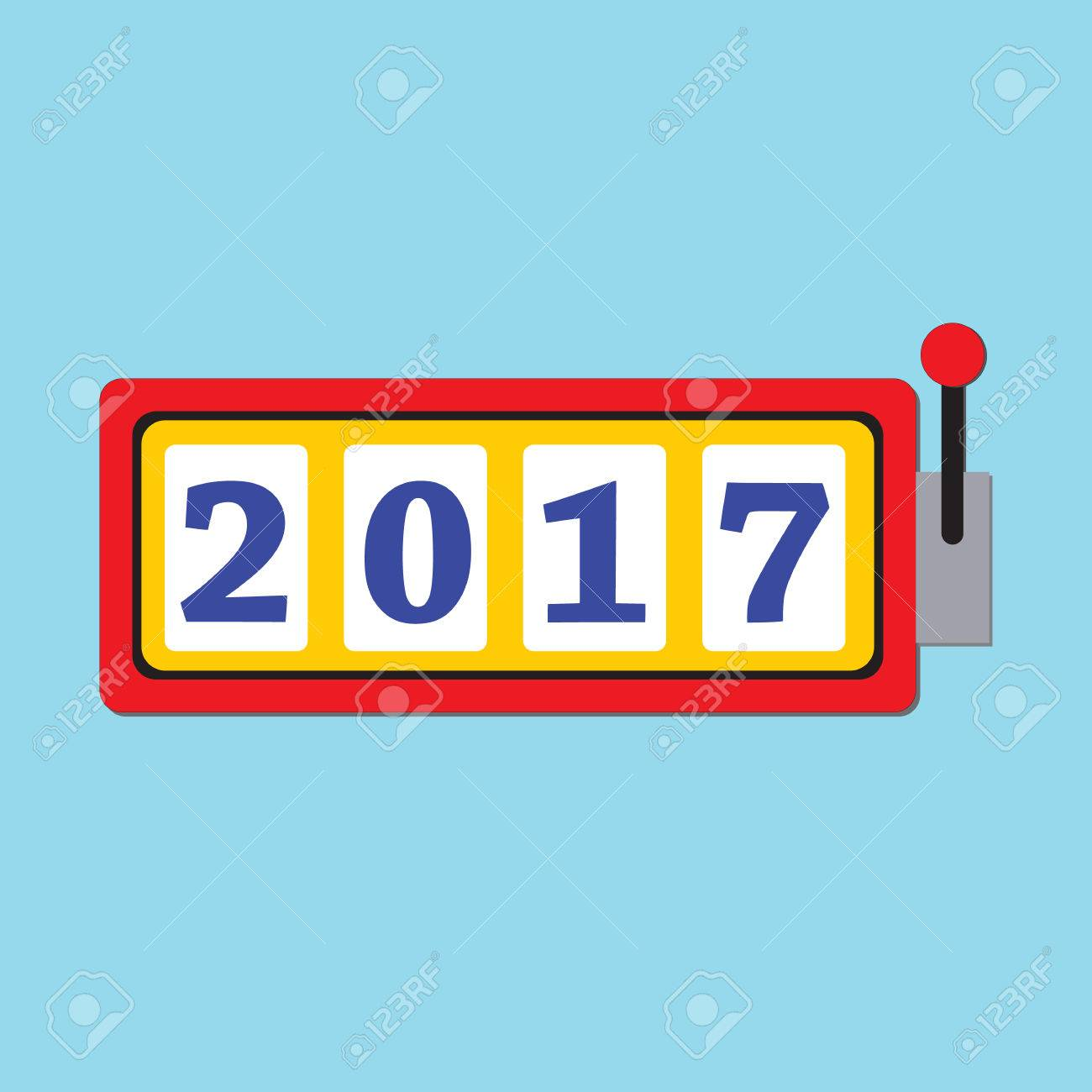 Happy New Year 2017 Greeting Card With Slot Machine And Lucky