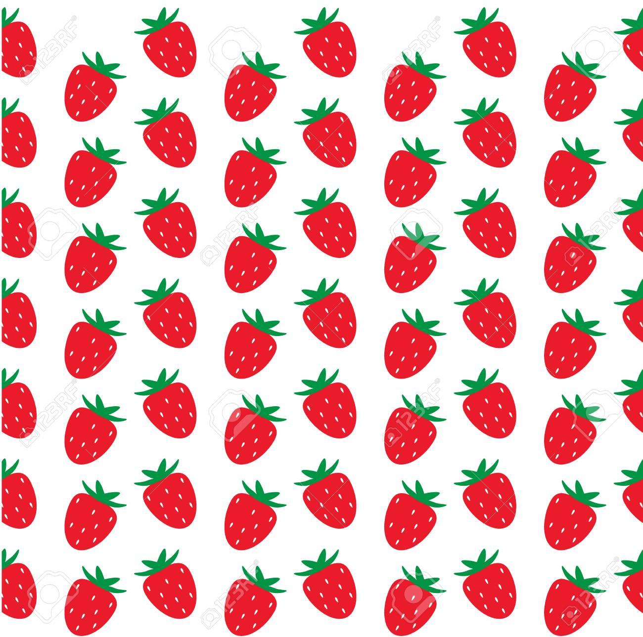 Seamless Strawberry Pattern On White Background Strawberry Background