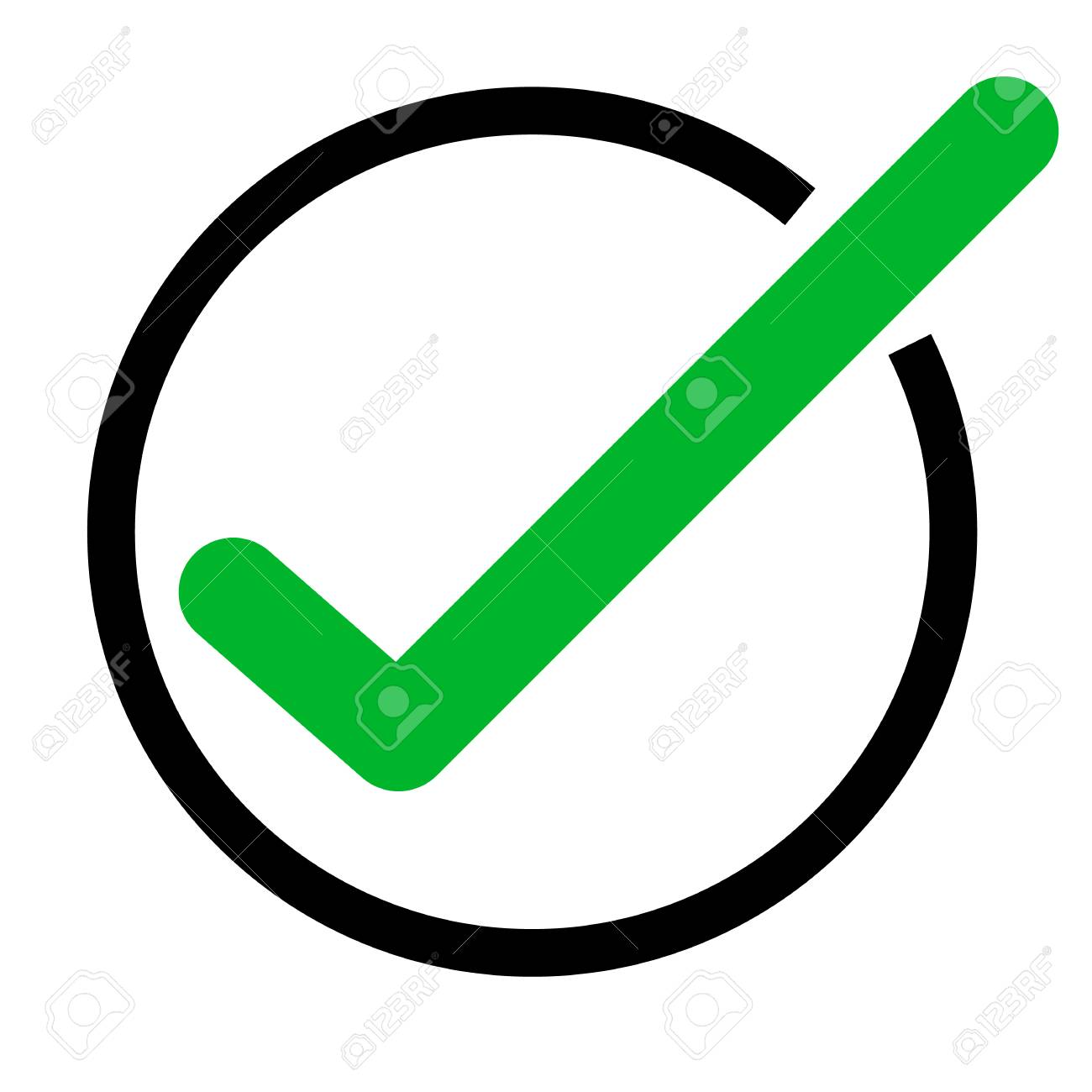 Green Tick Icon On White Background Green Check Mark Icon Tick