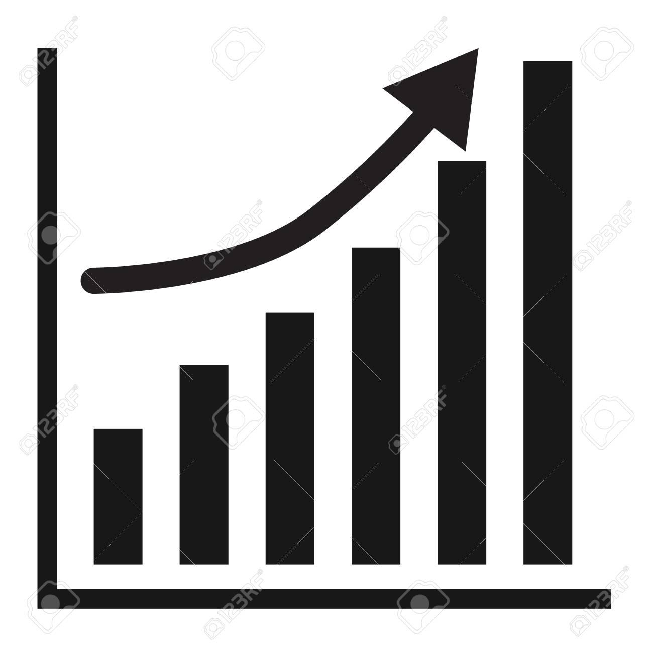 Business Graph Vector Growth Progress Black Arrow
