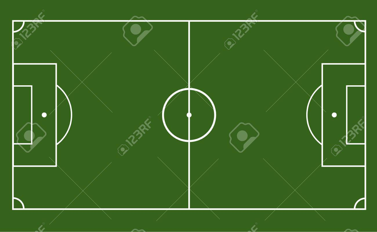 green field with soccer games strategy football field or soccer
