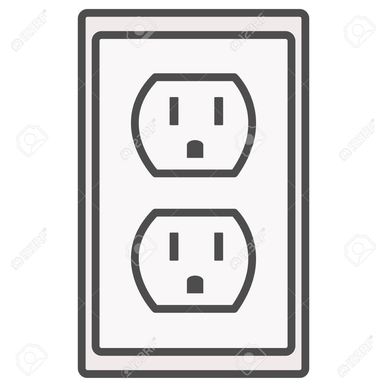 Grounded Power Outlets Symbol. White Socket. Electric Outlet ...