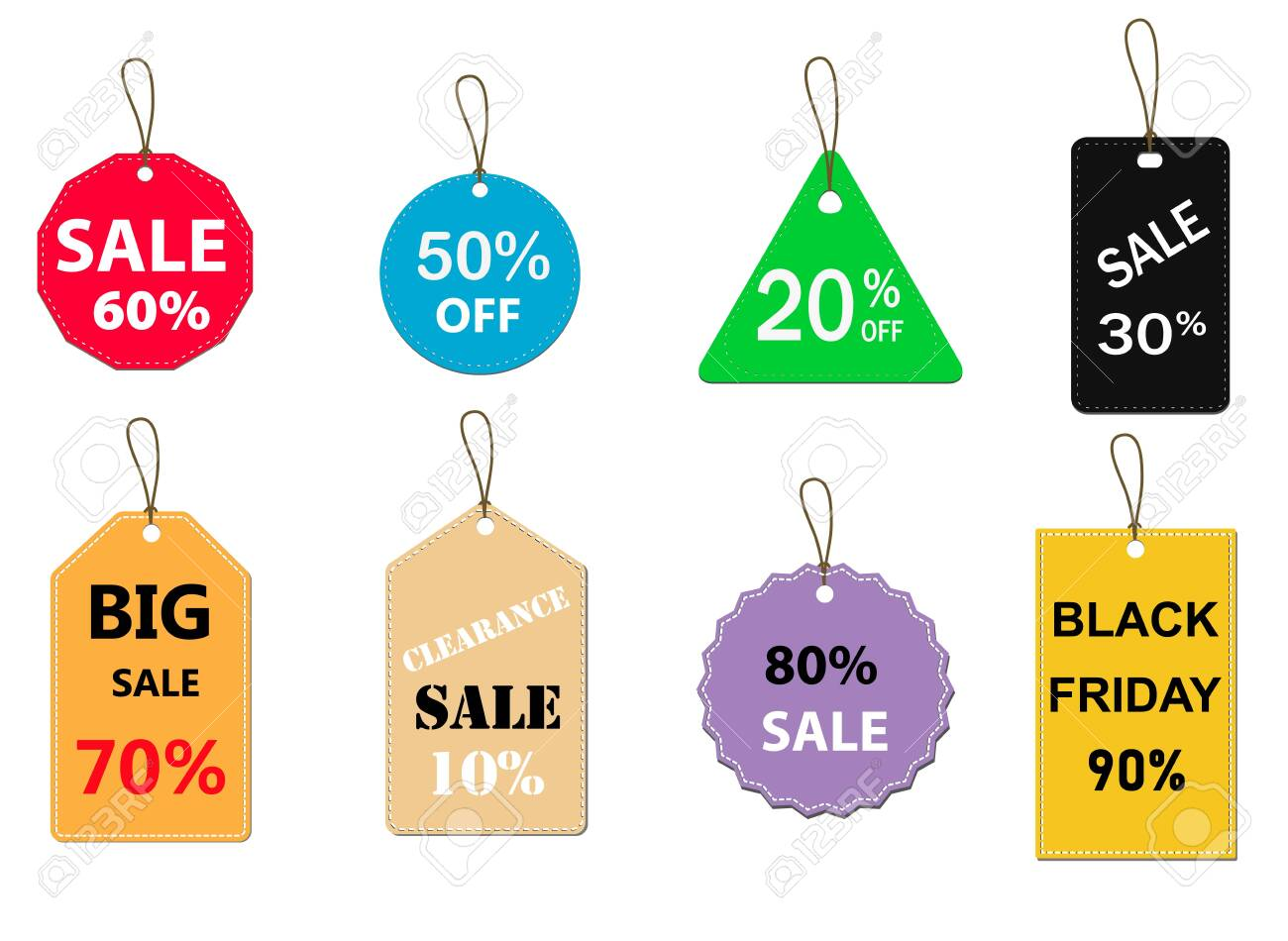 set of sale tag on white background. special offer discount tag sign. flat style. sale labels set icon for your web site design, logo, app, UI. sale tags symbol. - 120497695