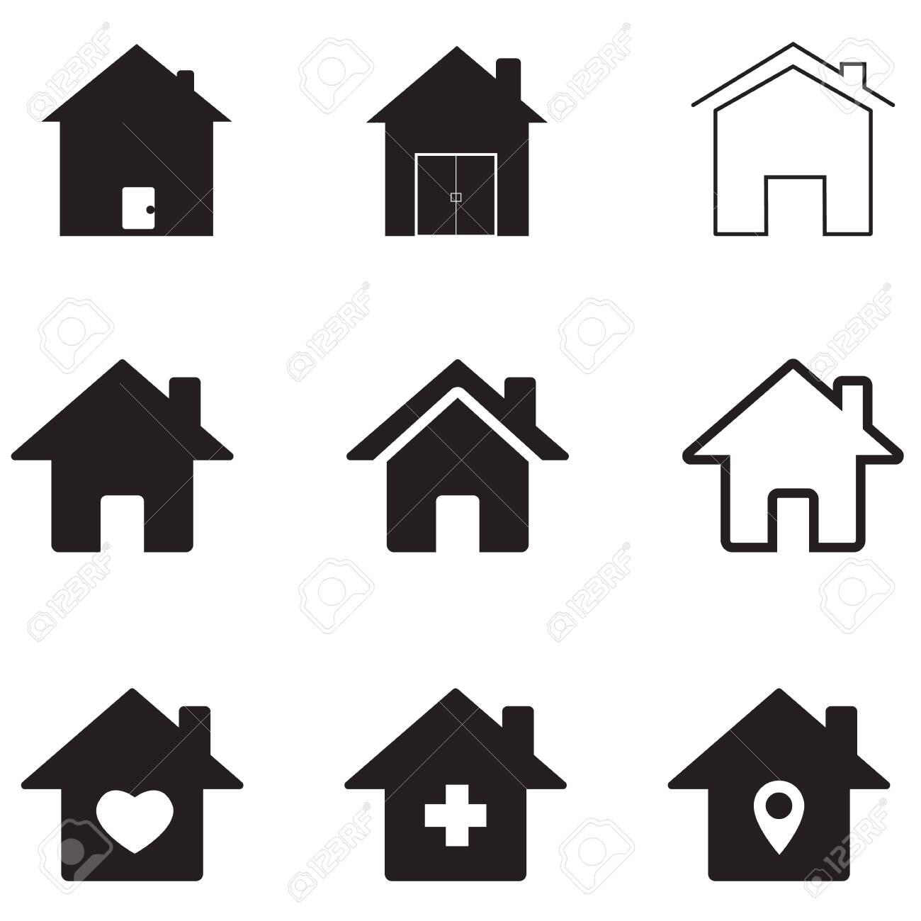 houses icon on white background. flat style. homes icon for your web site design, app, UI. real estate symbol. house sign. - 128108720