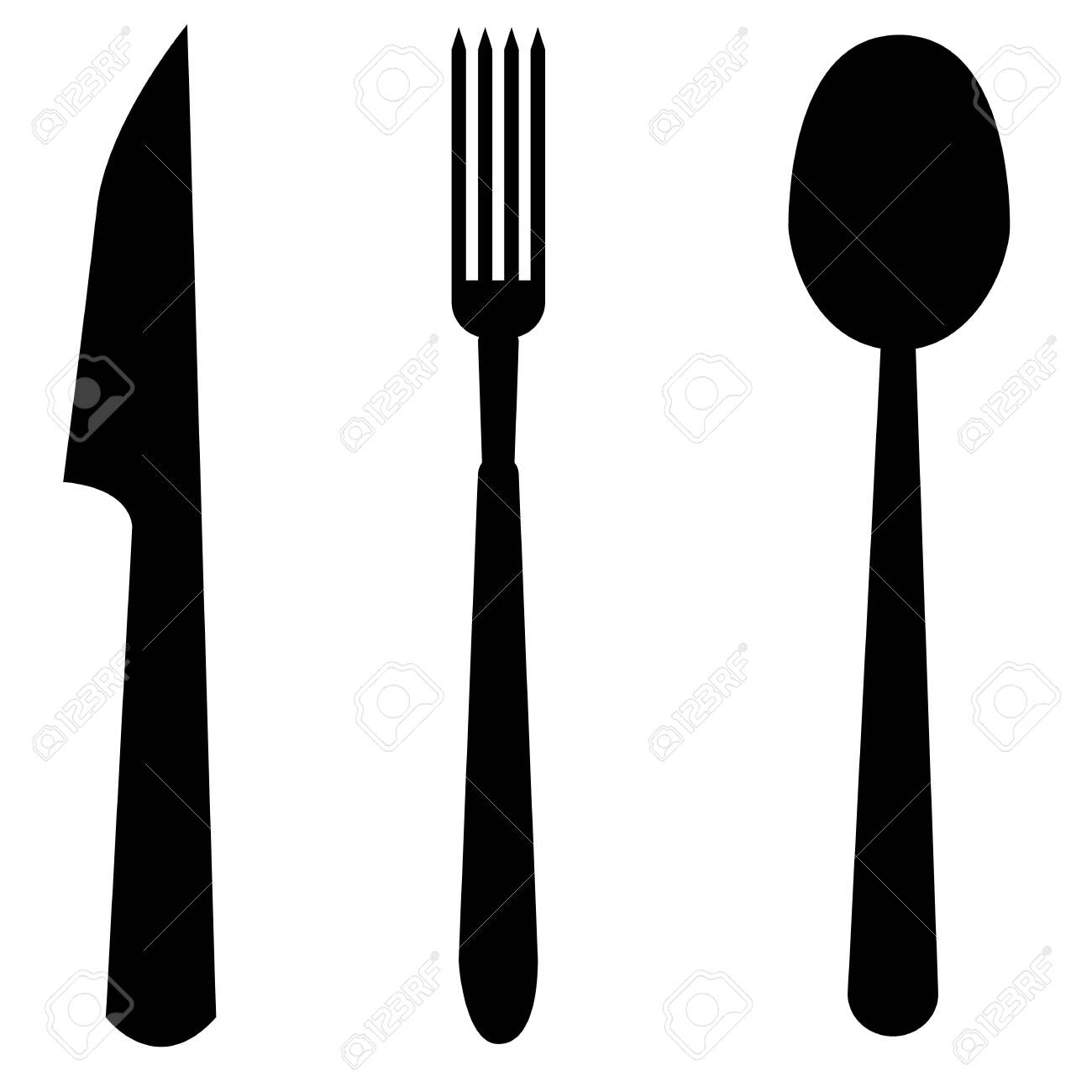 spoon, fork and knife icon on white background. flat style. cutlery symbol. kitchen sign. - 133620609