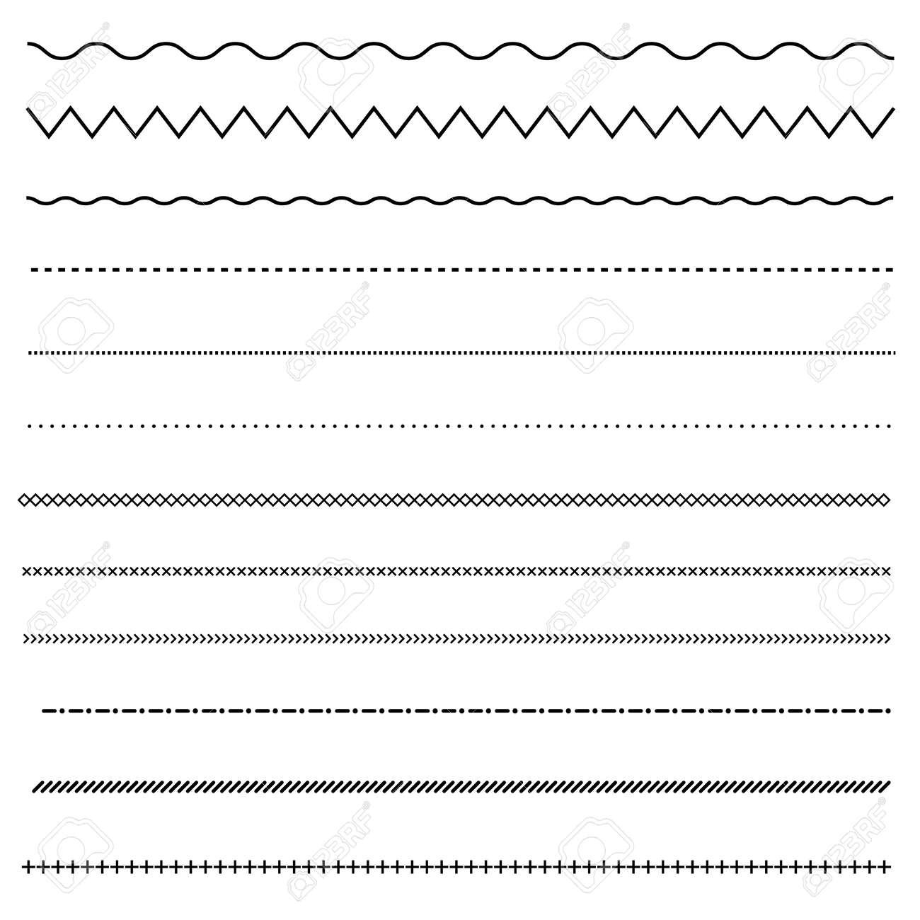 set of line on white background. dot and line patterns. line border symbol. - 154902225