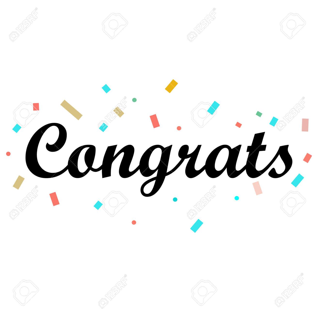 Congrats Letter on white background. Congrats lettering text. Congrats calligraphy lettering. Template for logotype, design, logo, app, UI, badge, card, postcard. - 168872724