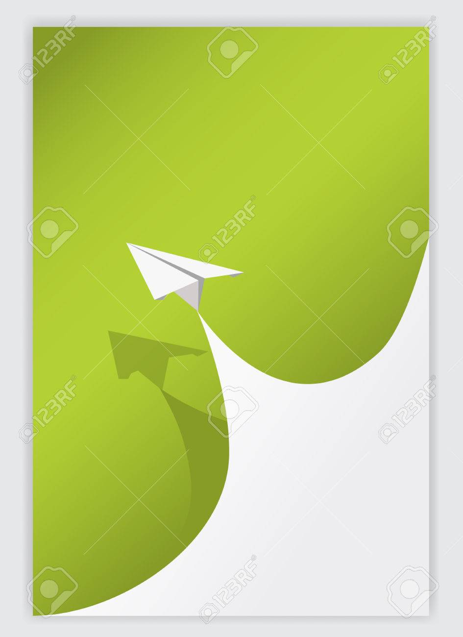 Libro Verde Enrollamiento Esquina Background.vector Blanco Y Avión ...