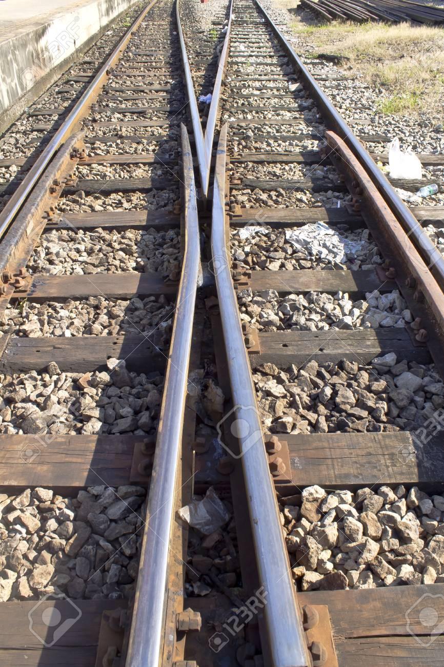 Detail of railway railroad tracks for train Stock Photo - 12655506