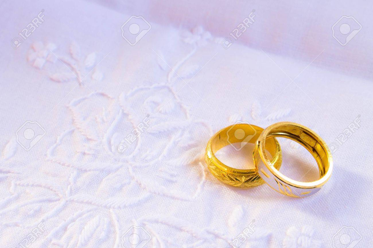 Wedding Detail With Beautiful Golden Rings Stock Photo, Picture ...