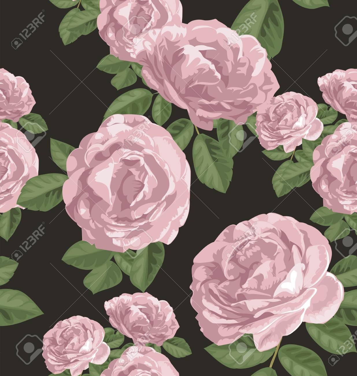 Illustration of rose seamless pattern - 48904460