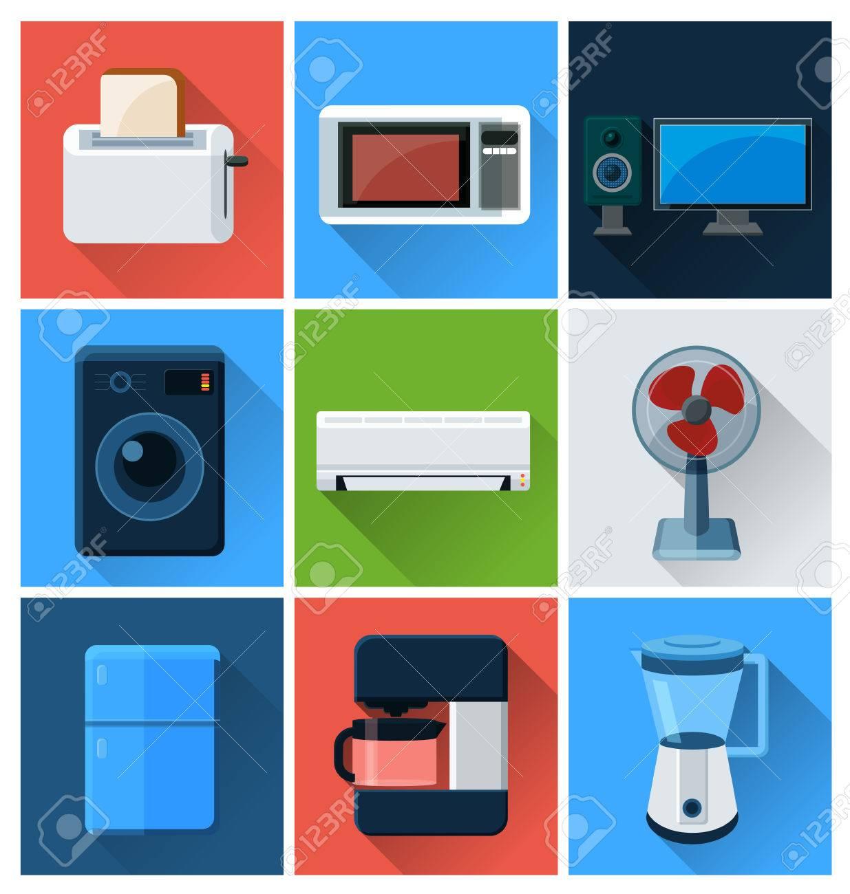 Haushaltsgeräte Und Elektronische Geräte Flache Symbole. Lizenzfrei ...