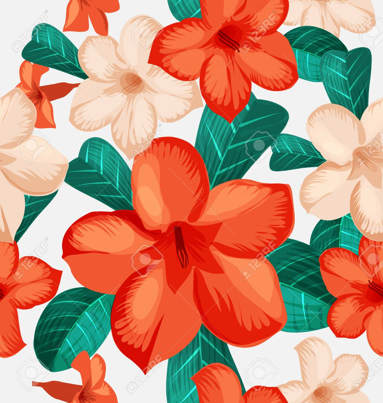 Seamless Floral Pattern With Tropical Flowers Foliage Seamless