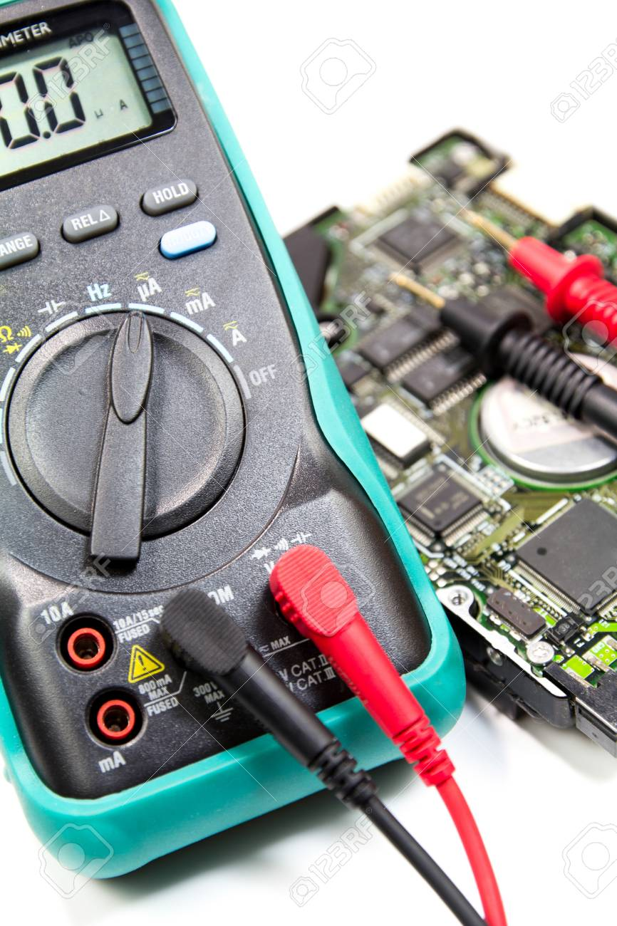 Digital Multimeter For Determining Electrical Current And Test Electronics Circuit A Series Including Voltmeter Stock Photo 23545541
