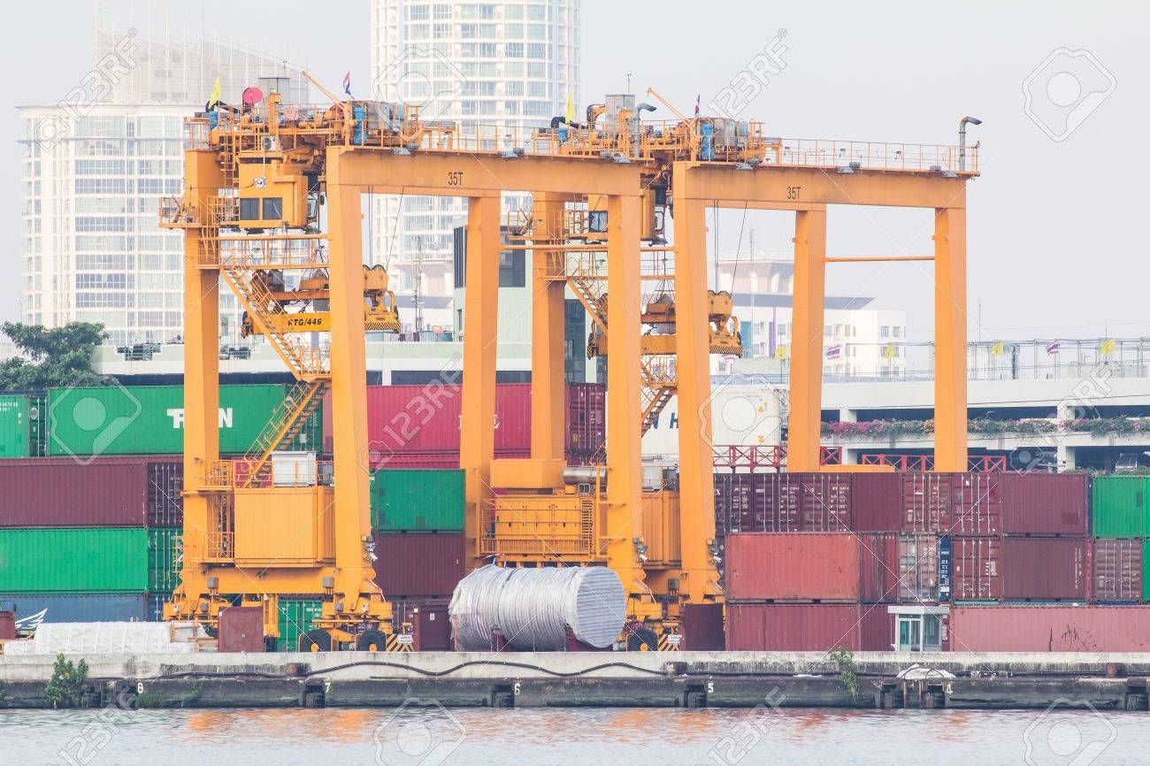 Container Harbor in Thailand  Photo shows the crane for the containers