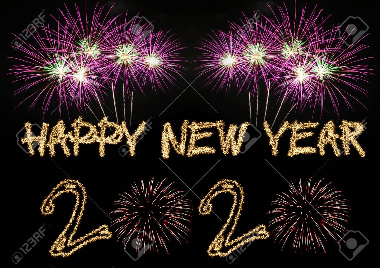 Happy New Year 2020 sparklers firework - 134130160