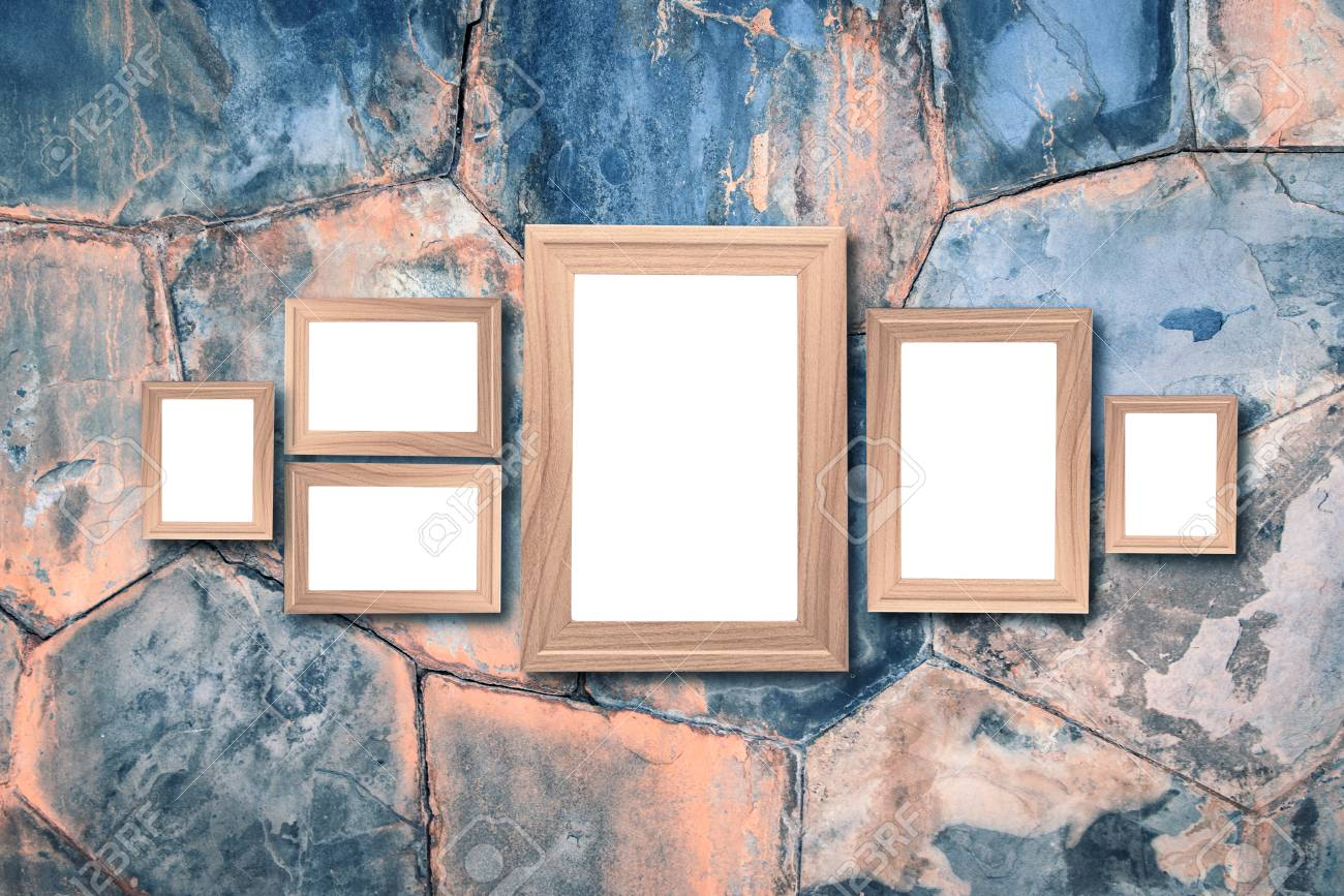 Collage Of Blank Brown Wooden Frames Interior Decor Mock Up