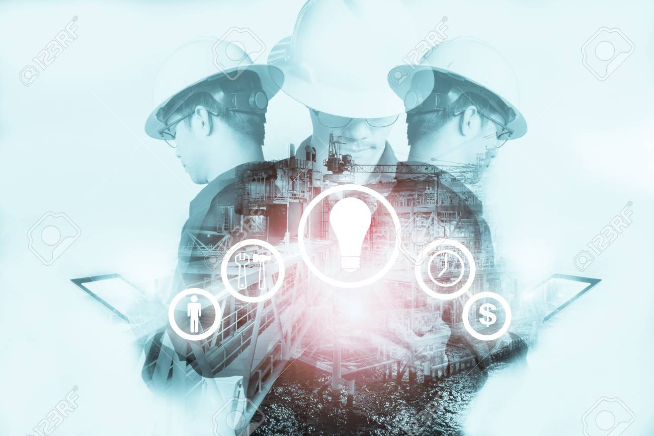 Double exposure of Engineer or Technician man with industry tool icons for management business by using tablet with safty helmet & uniform for oil and gas industrial business concept. - 87857646