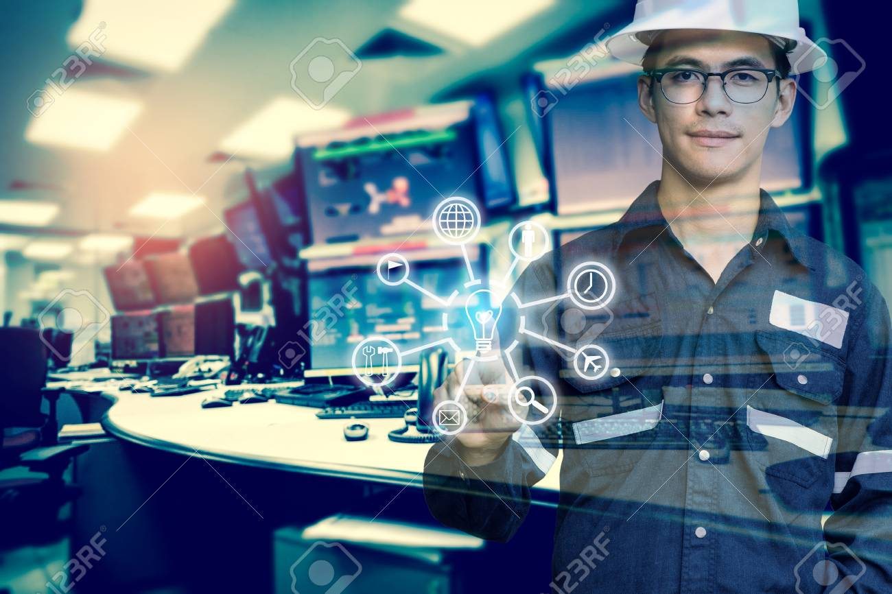 Double exposure of Engineer or Technician man with business industrial tool icons while pointing finger with monitor of computers room for oil and gas industrial business concept. - 93294481