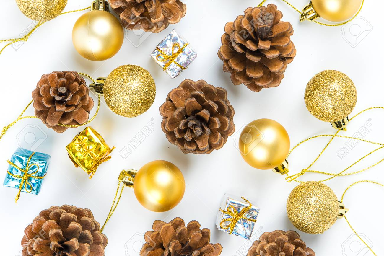 christmas or new year background with pine conesgift boxgolden ball of xmas