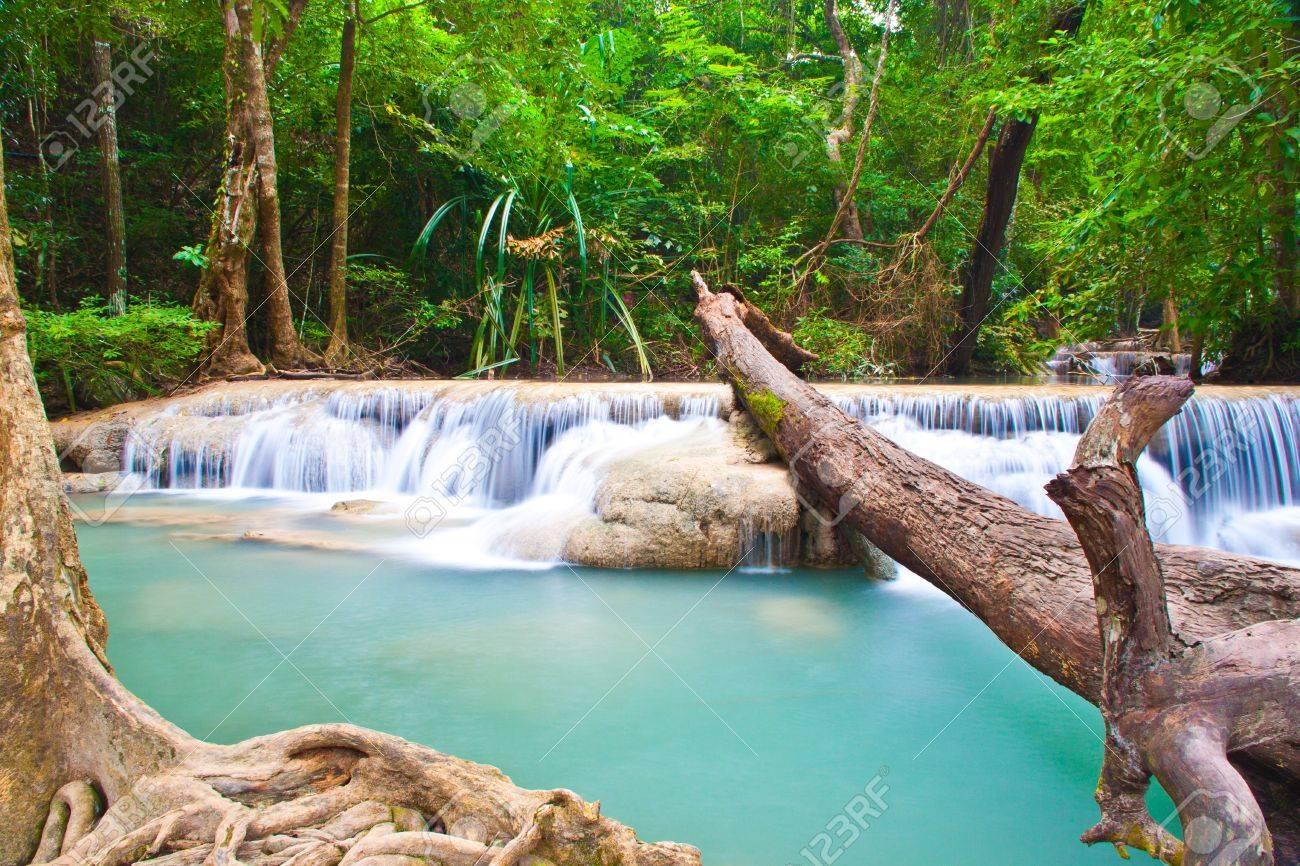 a beautiful waterfall and rainforest in kanchanaburi, thailand Stock Photo - 8286339