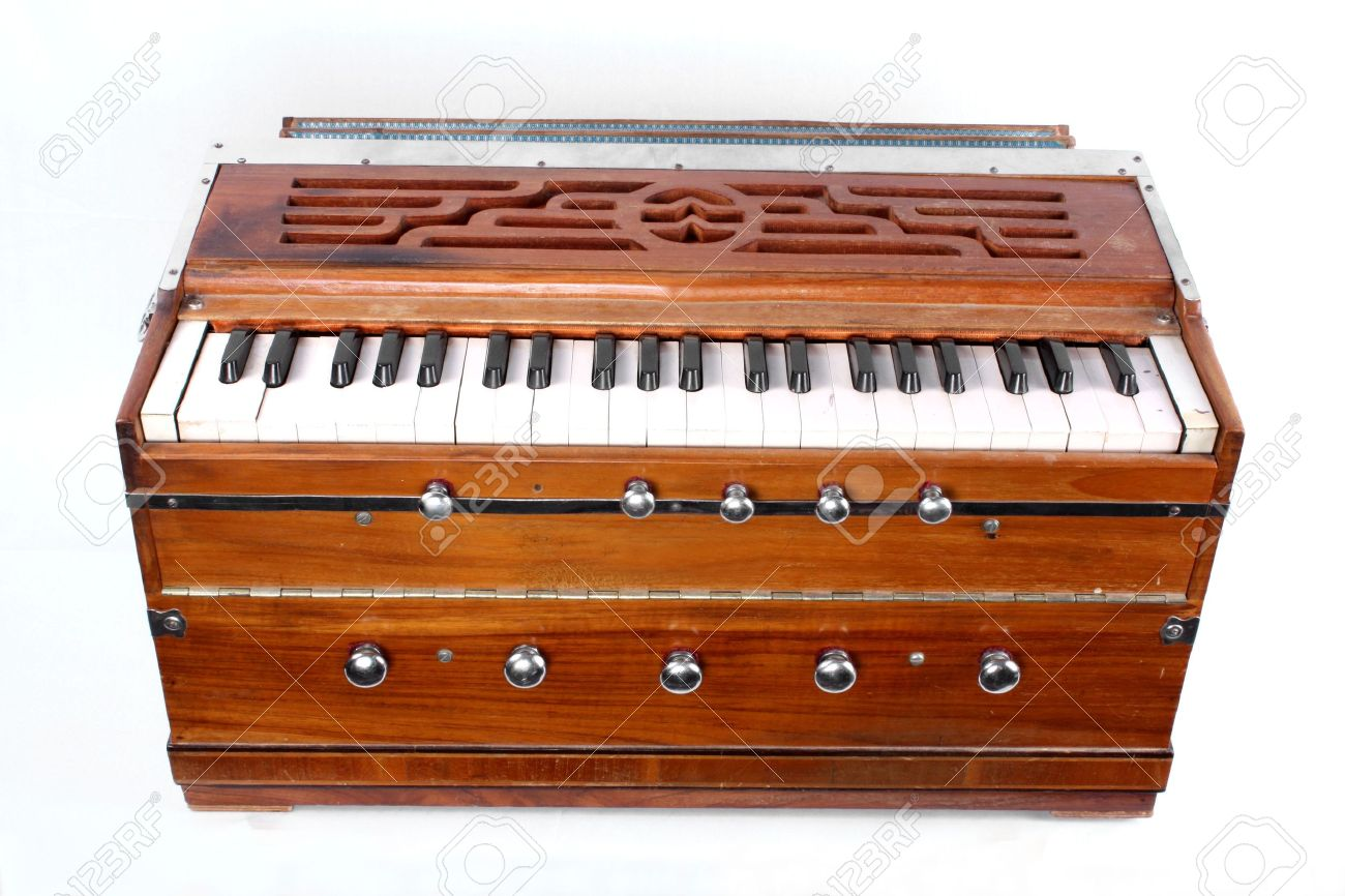 A traditional Indian musical organ instrument called the 'Harmonium'