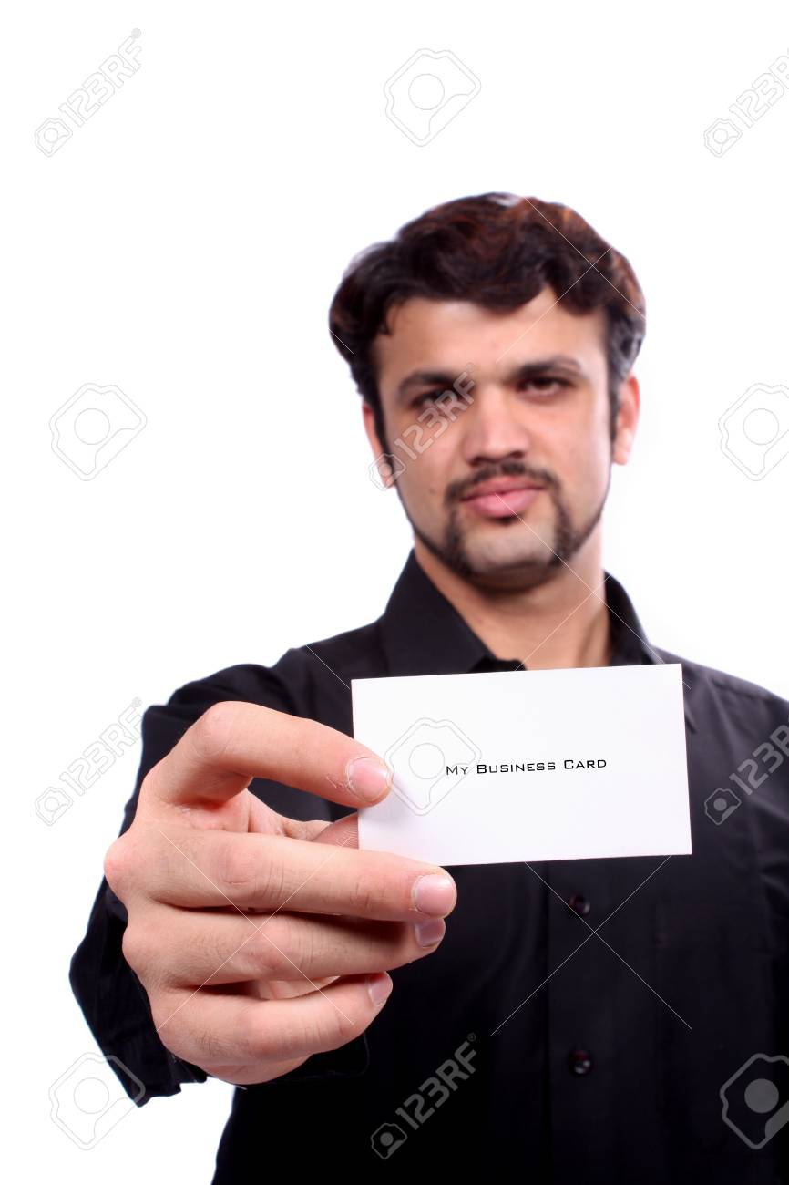 A Young Indian Guy Showing His New Business Card, Focus On The ...