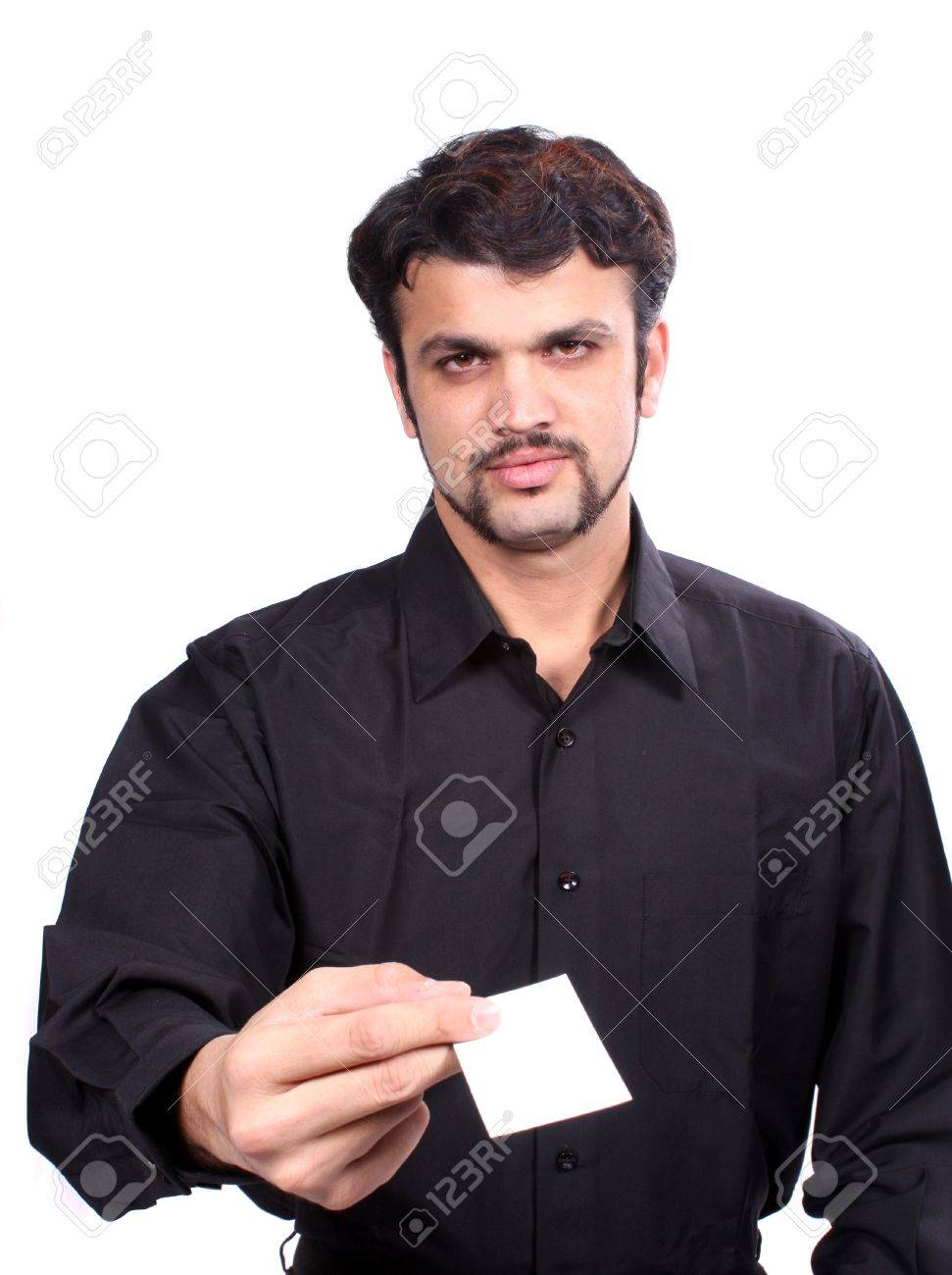 A Young Indian Guy Giving His New Business Card, Focus On The ...