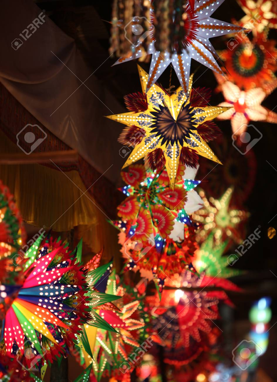 Christmas Festival In India.Beautiful Traditional Lanterns For Sale In A Shop On Occasion