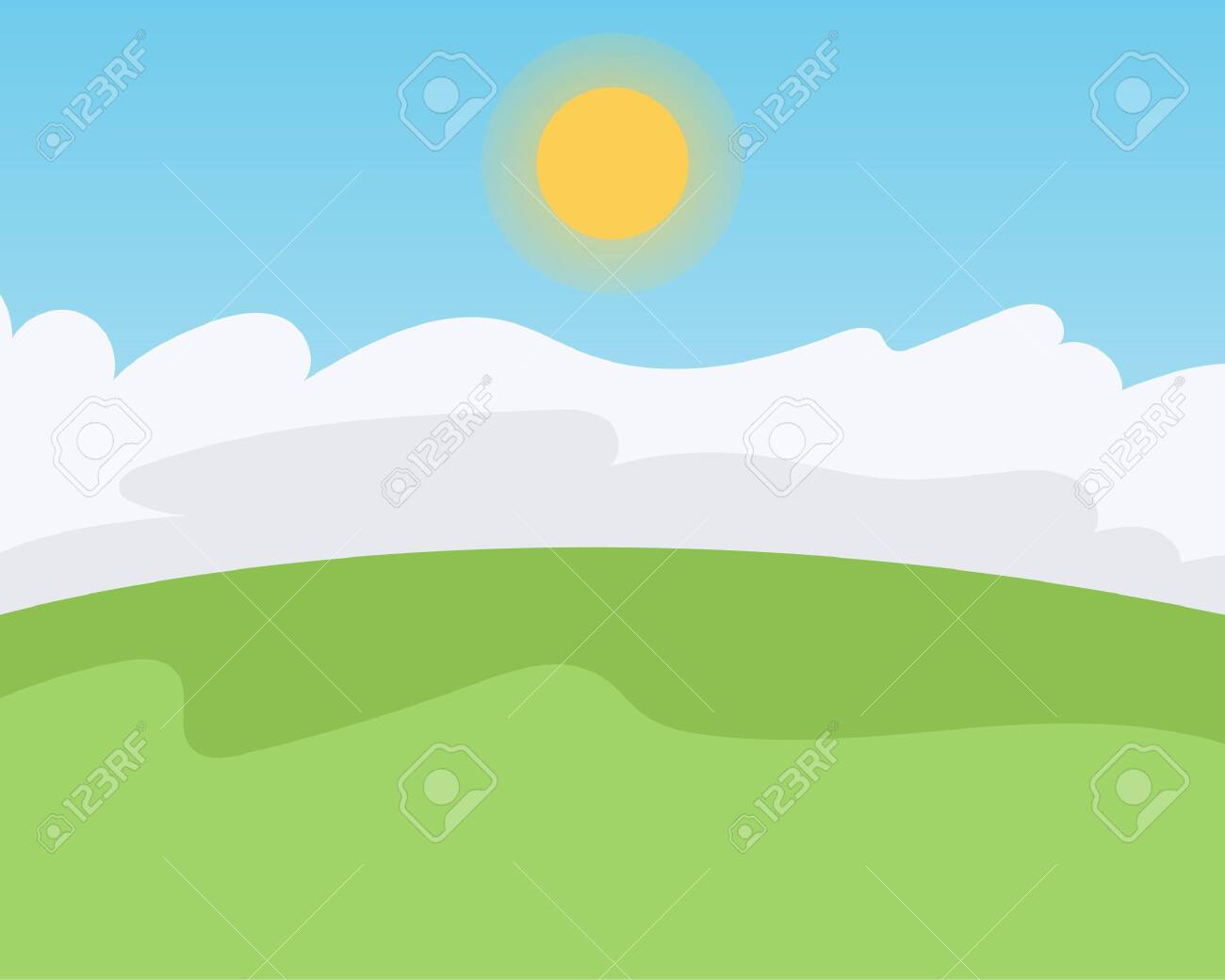 Green field, Clouds, Sky and Sun, Vector illustration - 120859298