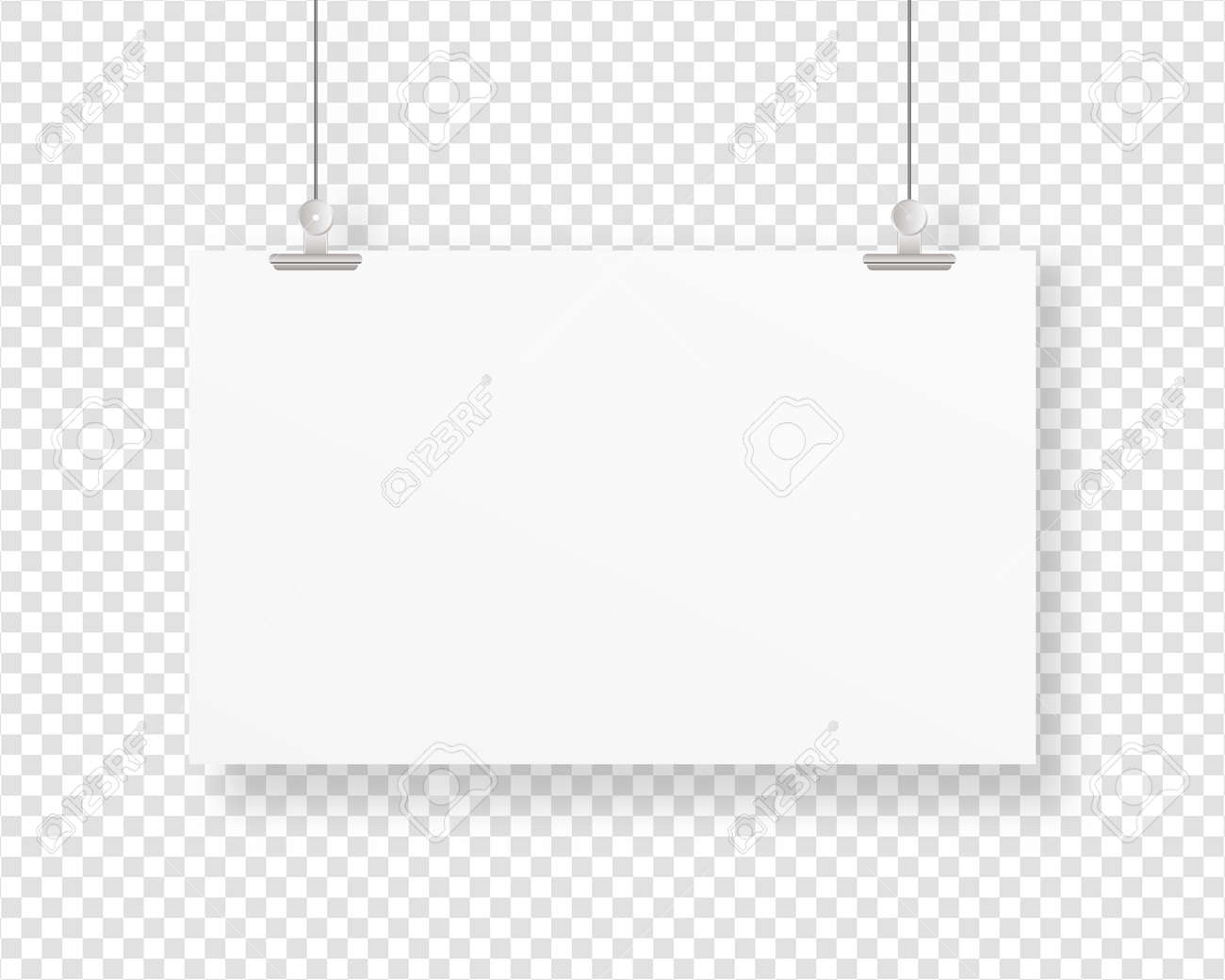 Empty paper frame mockup hanging with paper clip. Blank poster template. Mockup vector isolated. Template design. Realistic vector illustration. - 148234573