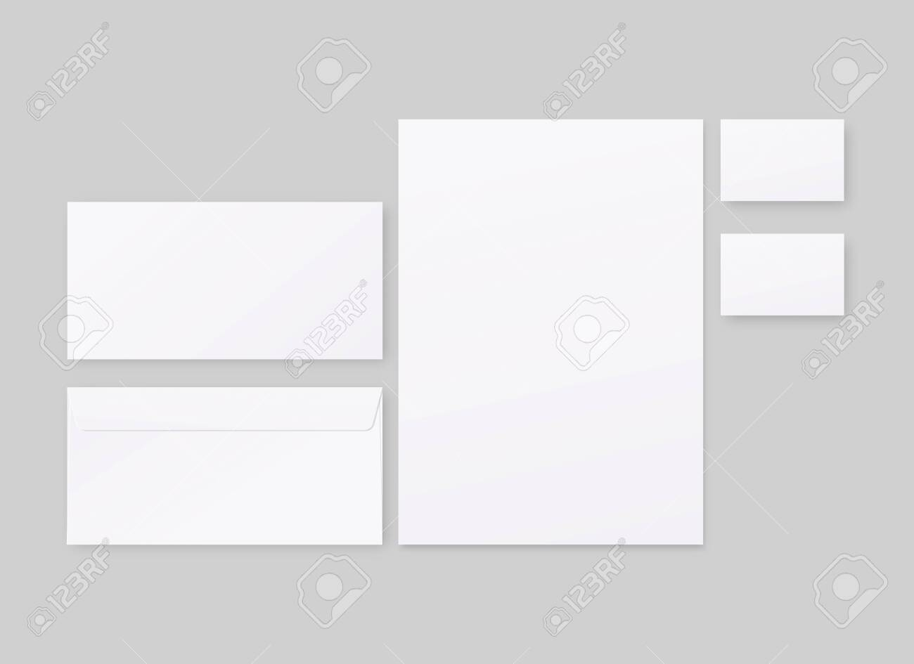 Corporate identity template set. Business stationery mockup with envelope, paper, business cards. Mockup vector isolated. Template design. Realistic vector illustration. - 148066576