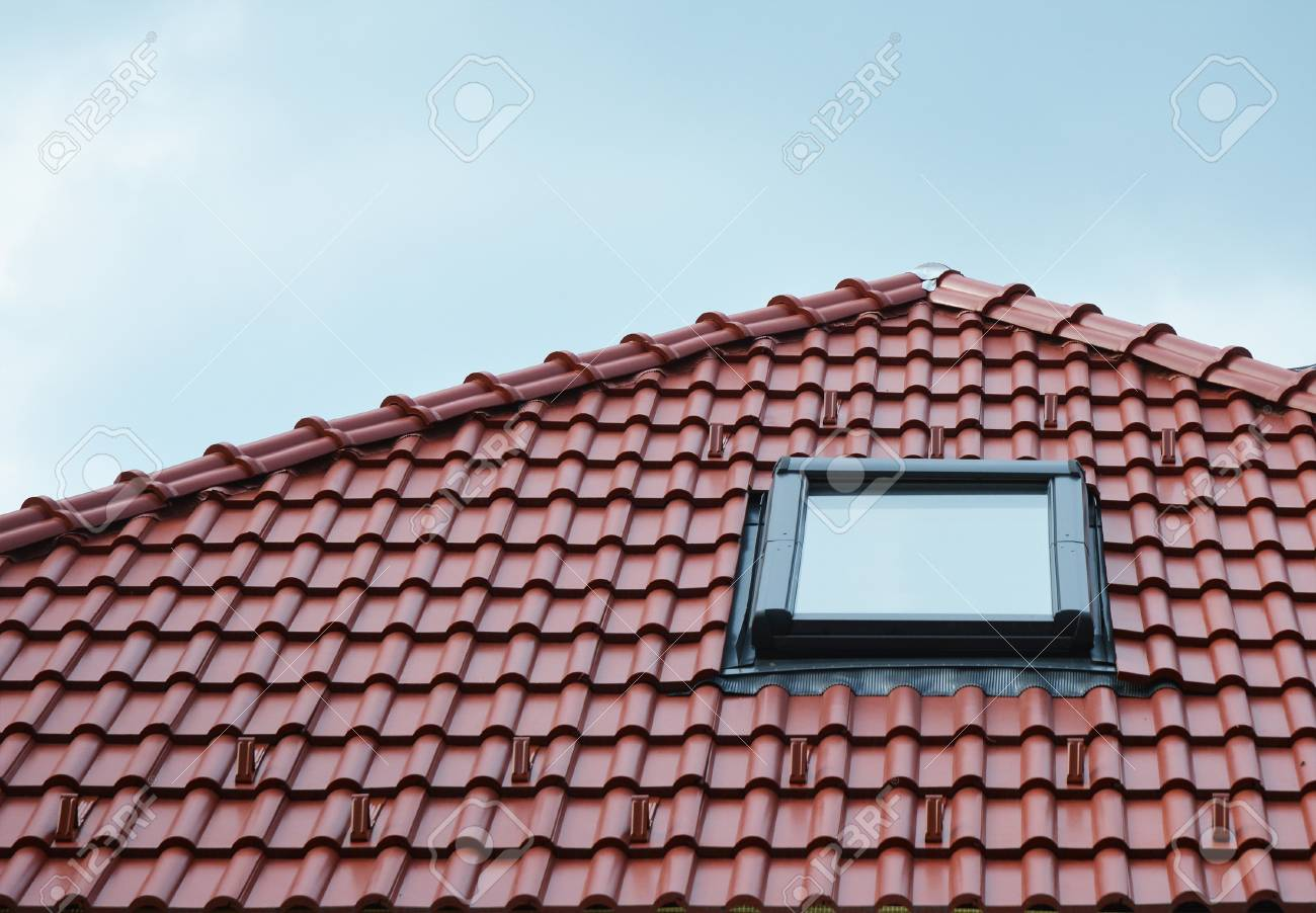 Attic Skylight Window On Red Ceramic Tiles House Roof Outdoor ...