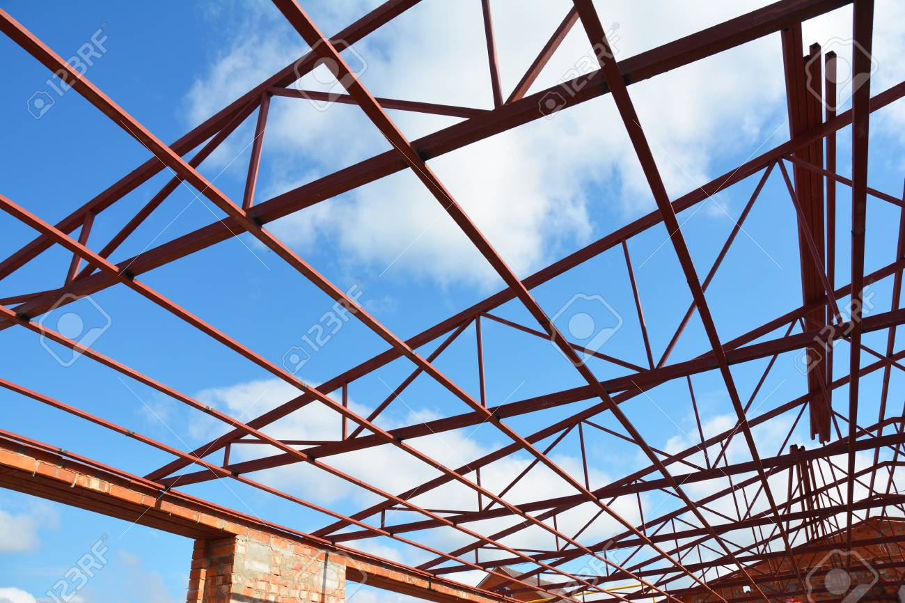 roofing construction steel roof trusses details with clouds sky background industrial roofing stock - Metal Roof Trusses