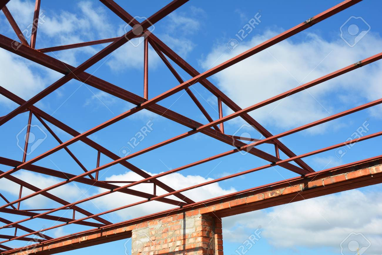 metal roofing construction roofing construction new steel roof trusses details with clouds sky background - Metal Roof Trusses