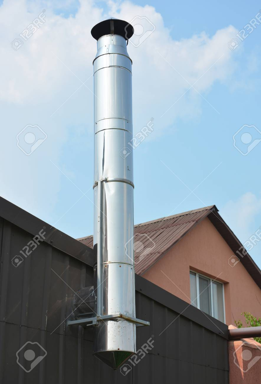 Astonishing Stainless Steel Chimney Close Up On House Coaxial Stainless Beutiful Home Inspiration Truamahrainfo