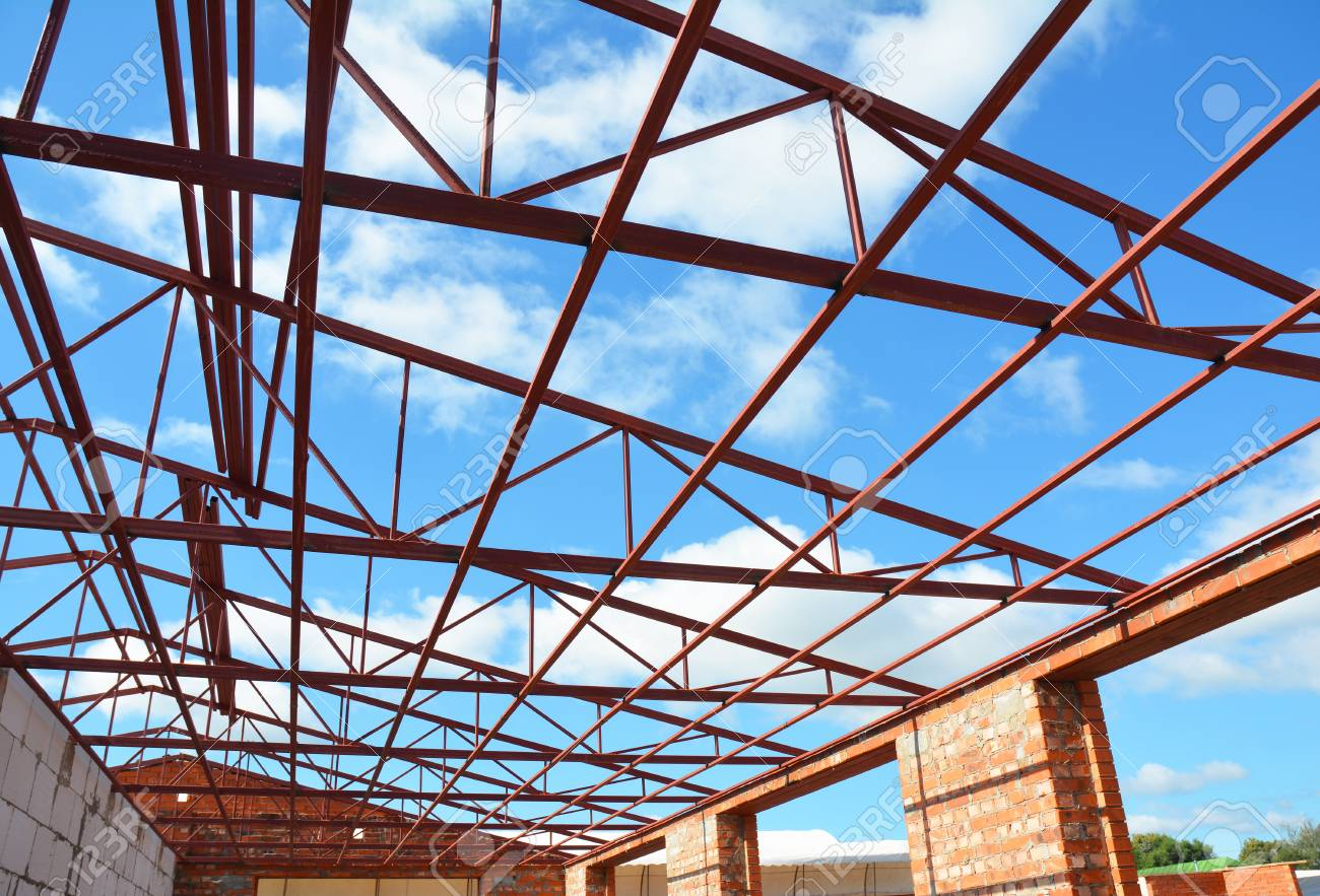 metal roof frame house construction metal roof trusses roofing construction stock photo - Metal Roof Trusses