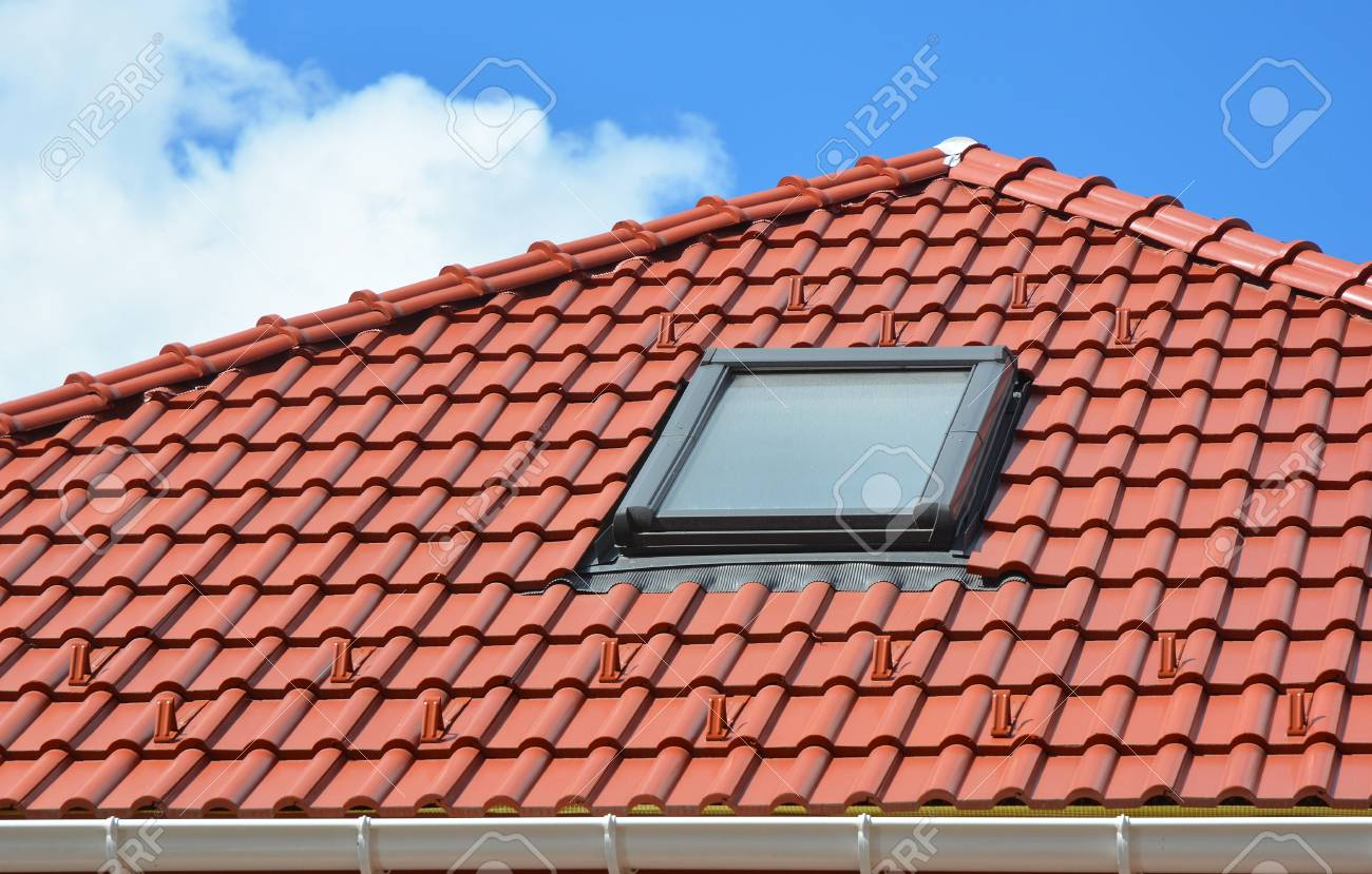 Favorite Skylight On Red Ceramic Roof Tiles House Roof. Modern Roof  ZZ97