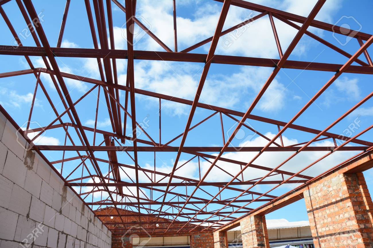 Steel Roof Trusses Details With Clouds Sky Background Roofing