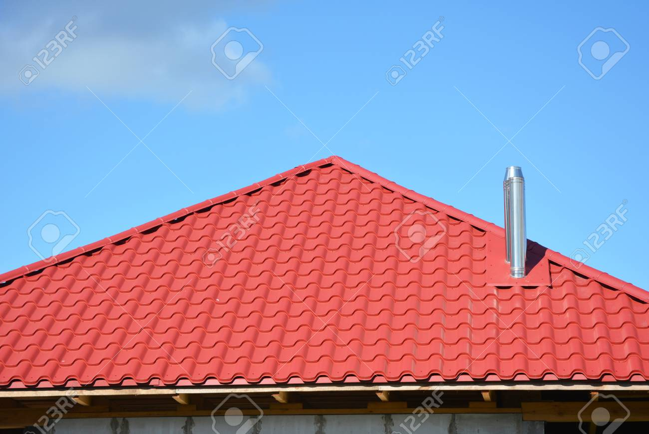 Red Metal Roofing Construction Metal Modular Coaxial Chimney Stock Photo Picture And Royalty Free Image Image 89836085