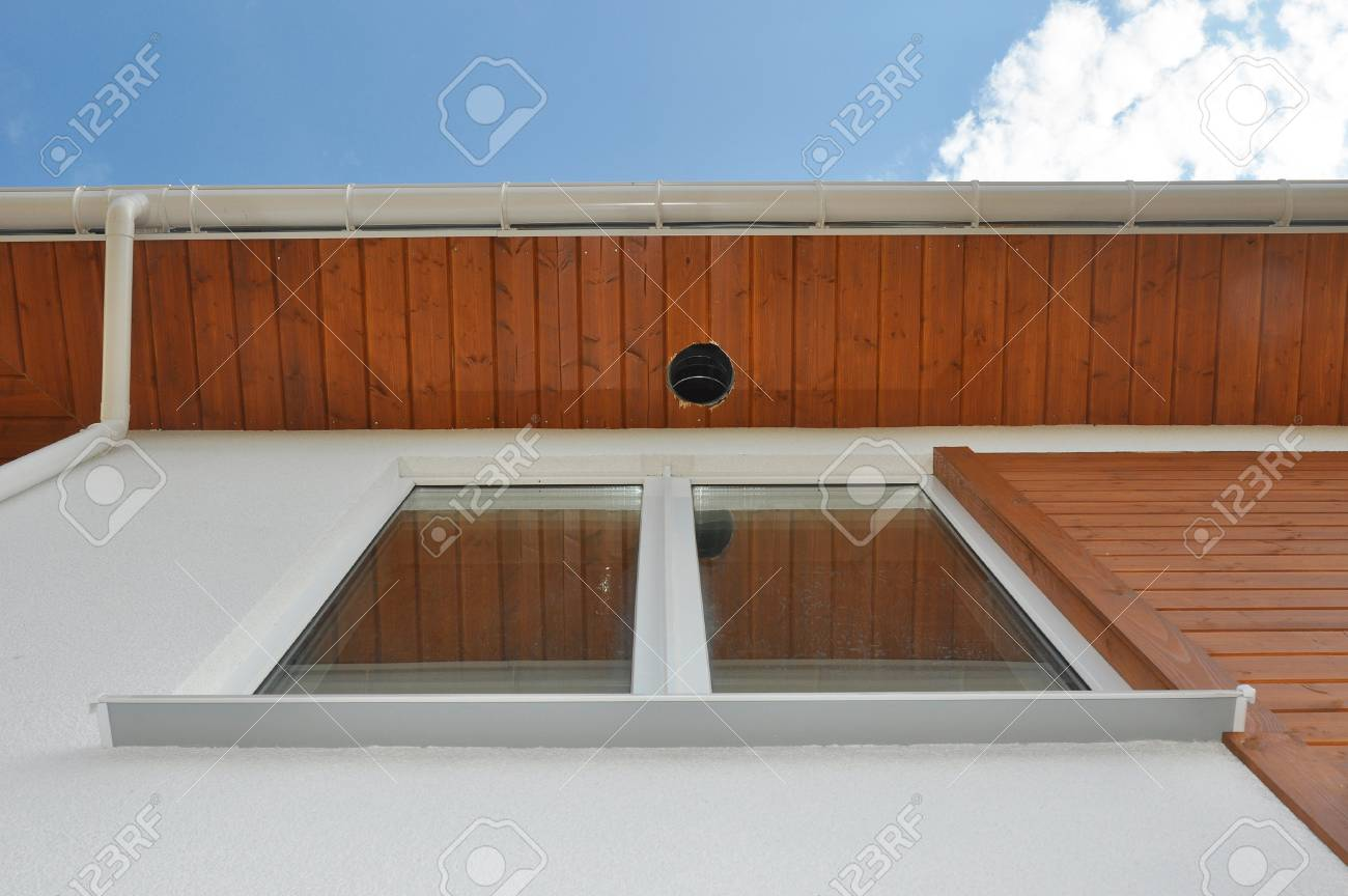 Close Up On Outdoor Lighting U0026 Exterior Light Fixtures. Rain Gutter Soffit  Board, Fascia