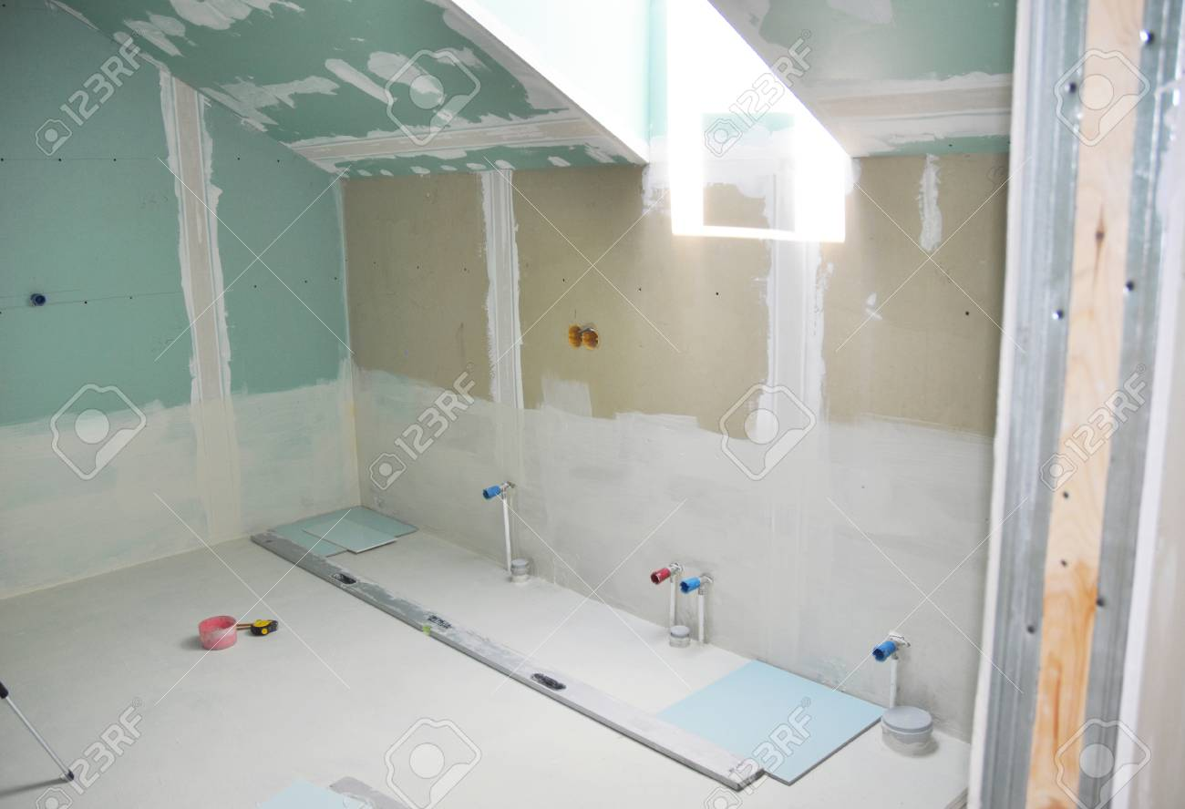 Remodeling Attic Bathroom With Drywall Repair Plasteringpainting Stock Photo Picture And Royalty Free Image Image 95089849