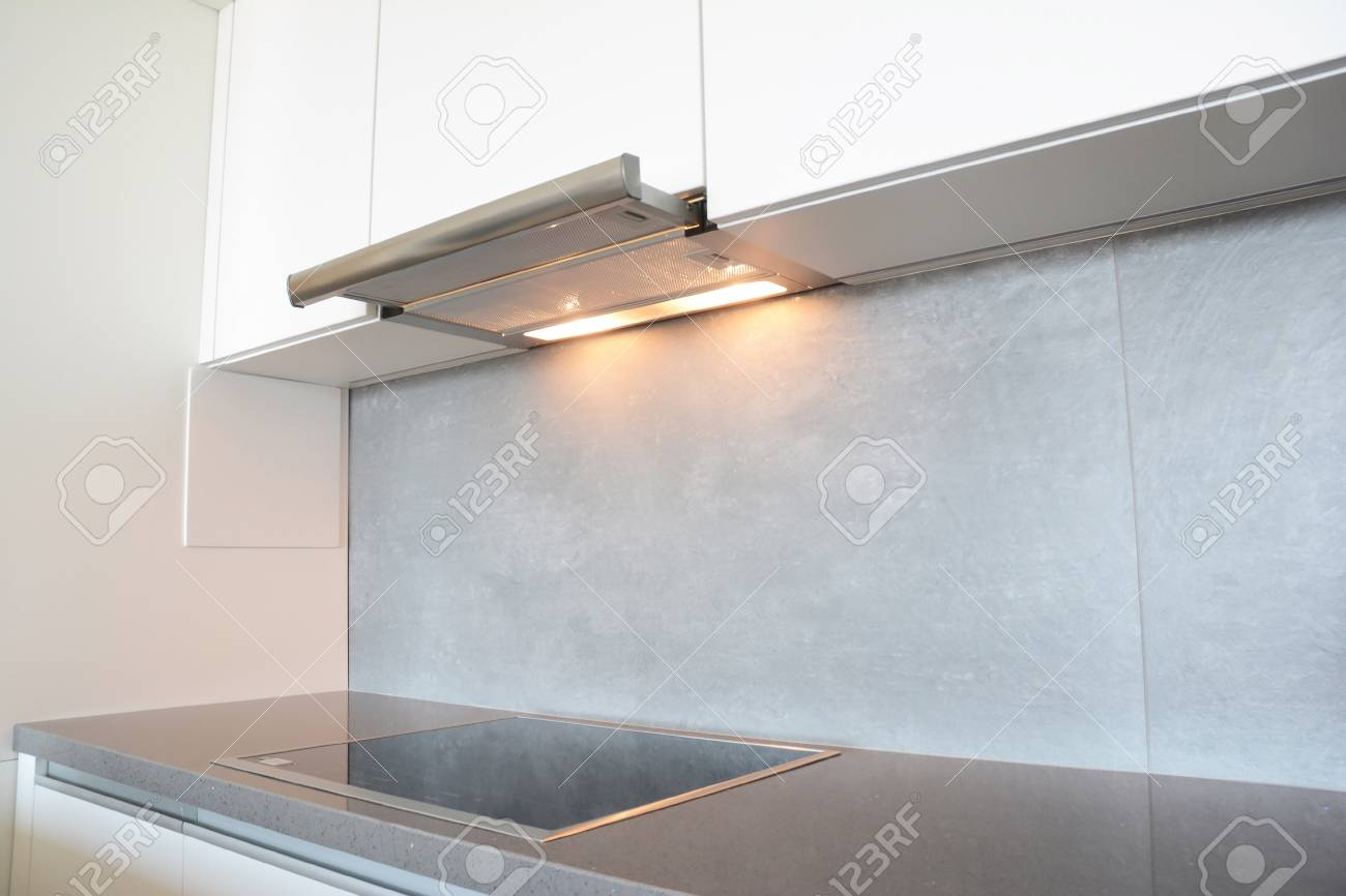 Close Up On Modern Air Exhauster Kitchen Fan Or Range Hood ...