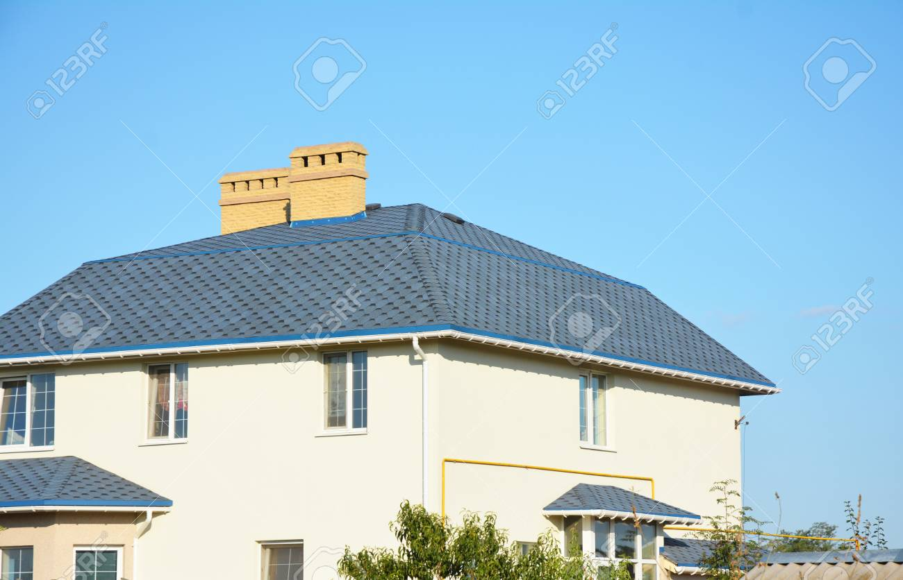 House Roof With Asphalt Shingles Ventilation Chimney And Roof – Roofing With Asphalt Shingles