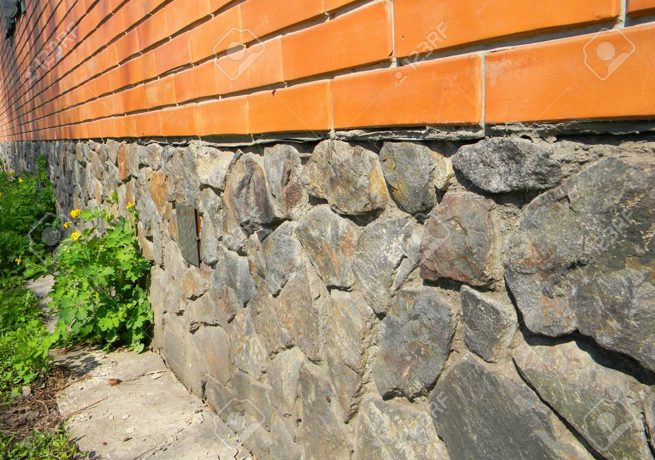 Close Up On House Foundation Wall From Wild Stone Waterproofing Stock Photo Picture And Royalty Free Image Image 98428534