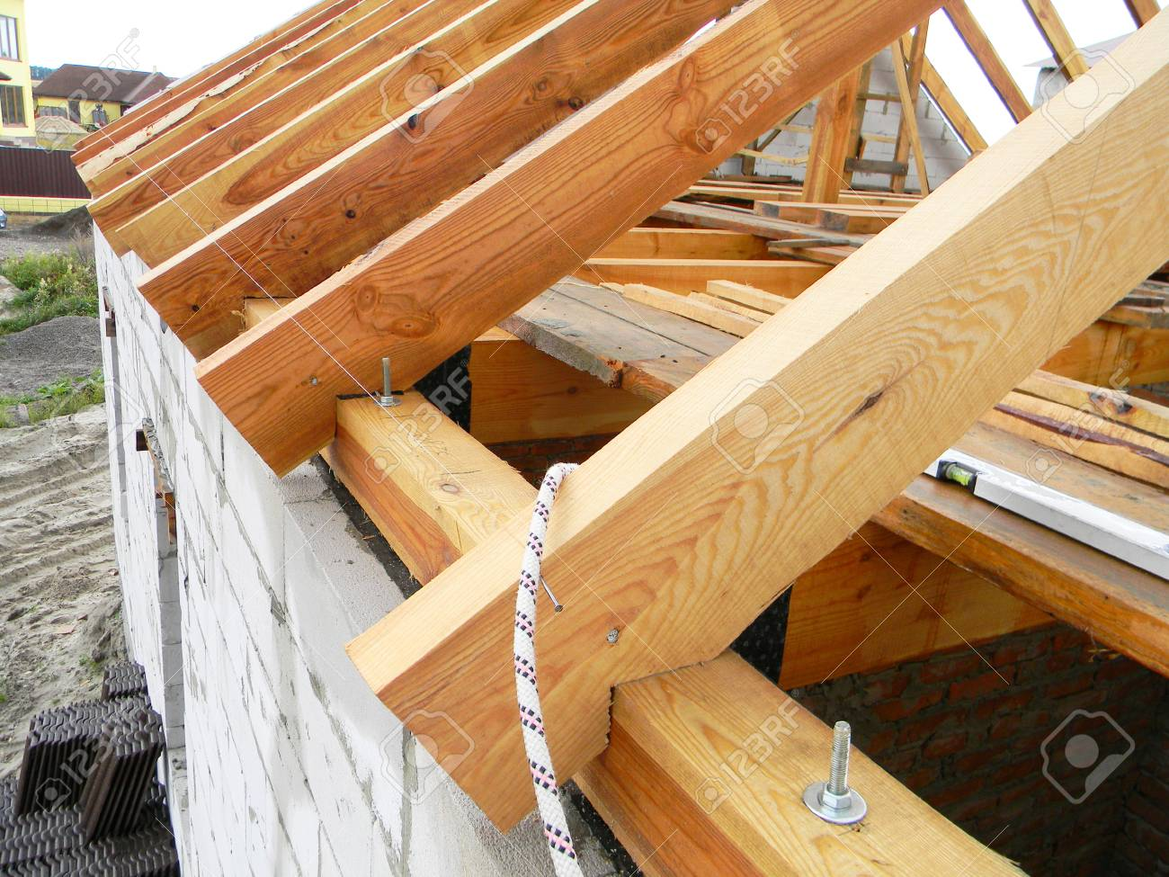 Roofing Construction With Wooden Beams Logs Rafters Trusses