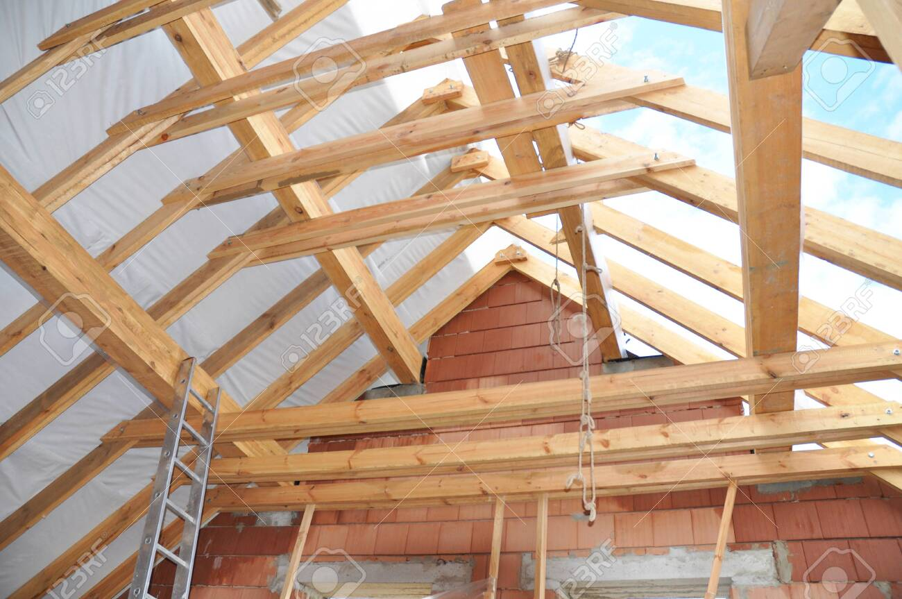 Roofing Construction Wooden Roof Beams Rafters Frame House