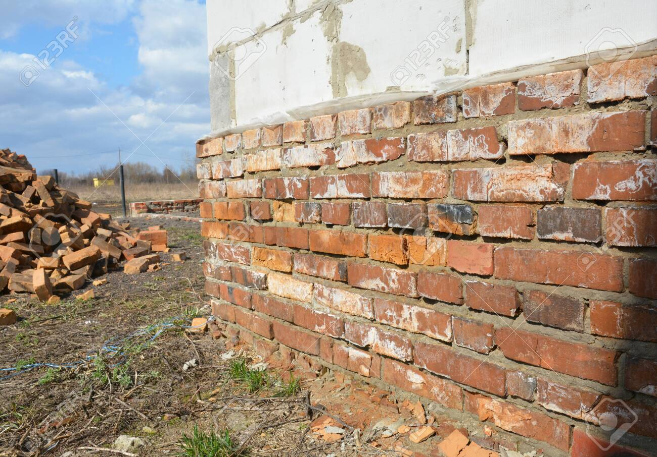 Bad Brick House Foundation Wall Stock Photo Picture And Royalty Free Image Image 129160500
