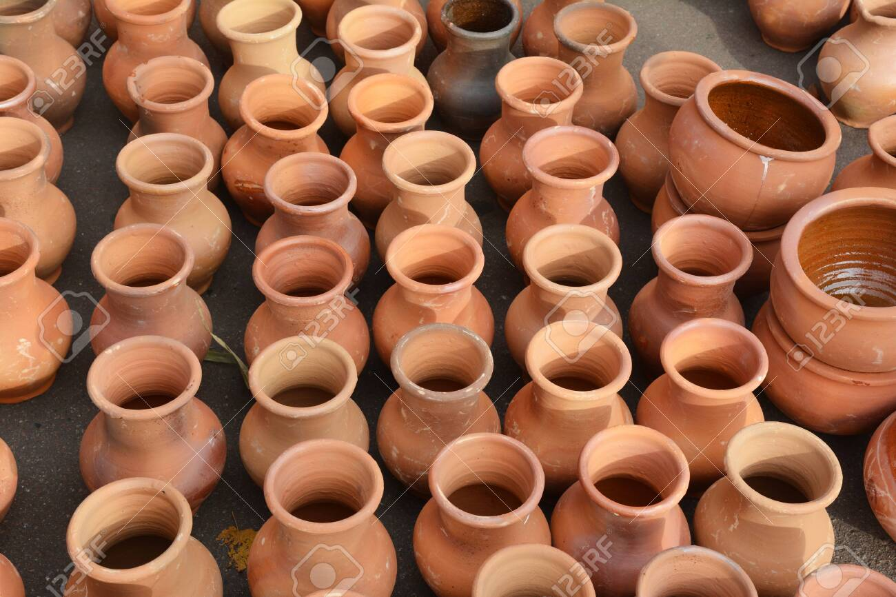 Clay Pottery Pattern Background Ceramic Craft Pots For Sale Stock Photo Picture And Royalty Free Image Image 135154495