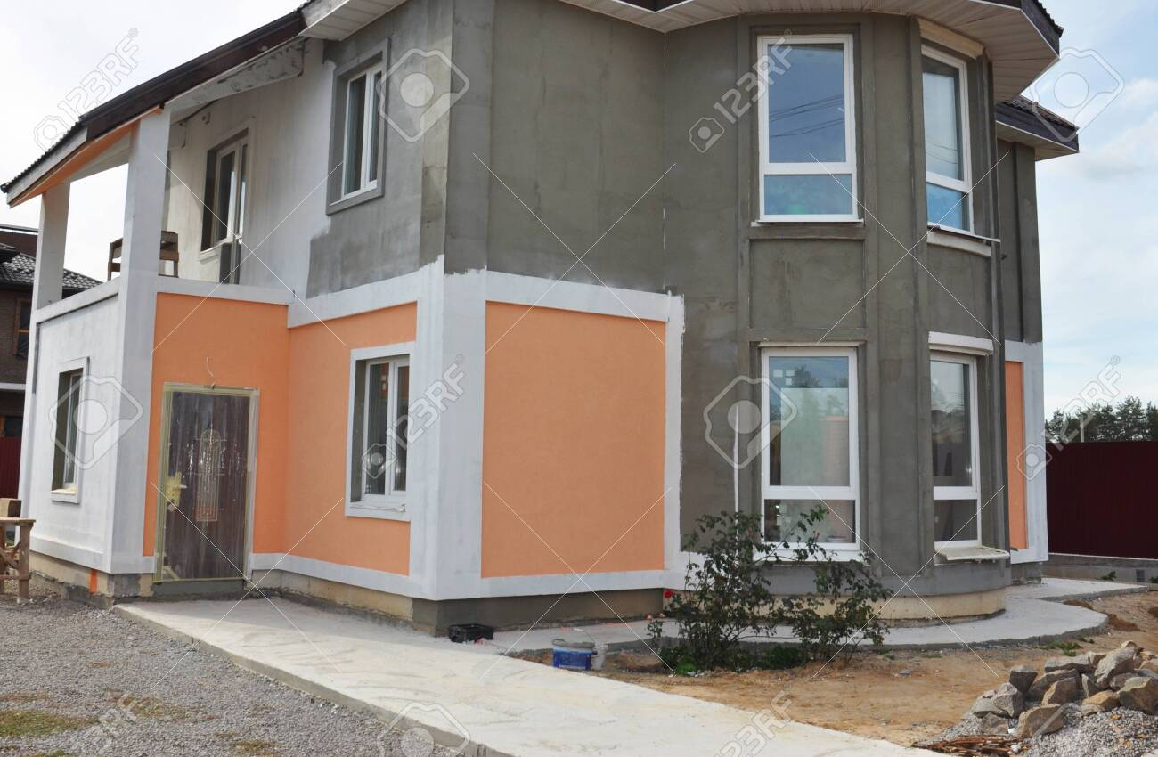 Painting House Exterior House Repair Renovation With With Insulation Stock Photo Picture And Royalty Free Image Image 140184971